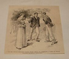1894 magazine engraving ~ MEN AND WOMAN ON TENNIS COURT
