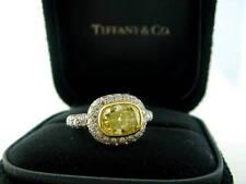 Tiffany & Co PLAT FANCY INTENSE Yellow Diamond Bezel Set Engagement Ring 2.11CT