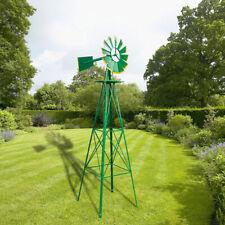 8Ft Weather Resistant Yard Garden Windmill Green