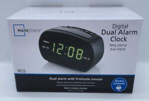 NEW Mainstays Green LED Digital Small Electric Dual Alarm Clock w/ 9 Min Snooze