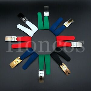 20MM SILICONE RUBBER WATCH STRAP BAND FITS ROLEX DATEJUST DAYTONA SUBMARINER GMT