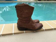 CATARINA MARTINS LIGHT BROWN LEATHER ZIP BACK DETAIL CASUAL BOOTS Sz 38