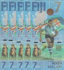 FIJI  7 DOLLARS X 5 UNCIRCULATED P-NEW BANKNOTE  RUBGY GOLD OLYMPIANS