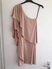 BNOWT Beautiful Ladies Warehouse Nude One Shoulder Kimono Sleeve Dress - Size 10