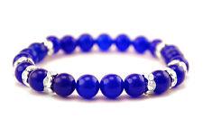 Handmade Semi Precious Stone Bracelet Sapphire Stone Beads Valentine's Gift Blue