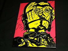ANTHONY DANIELS Signed C3PO Original Pop Art Painting Autographed STAR WARS RARE