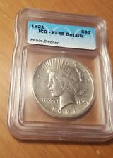 Rare 1921-P High Relief Peace Silver Dollar $1 EF45 ICG Det. Hard Date Nice Coin