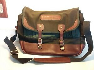 Vtg Orvis Paine Webber Brown Leather And Green Canvas Briefcase Messenger Bag