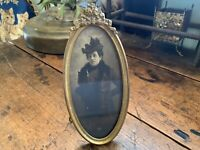Antique Vintage Art Nouveau Brass Picture Frame with Flowers Ribbon Bow