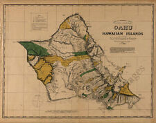 Oahu Hawaii c1881 map 30x24