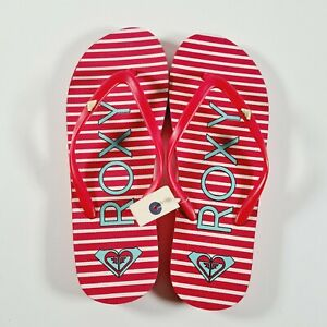 NEW ROXY Womens Red White Striped Surf Thongs Flip Flops Size US8 / AU7.5