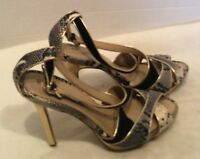 BCBG MAX AZRIA Womens Size 9.5 Olinda Snakeskin Heels Pumps Leather Shoes