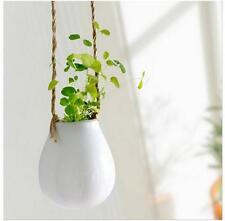 Home Garden Ceramic Hanging Planter Flower Pot Pots Green Plant Vase w Twine X ま