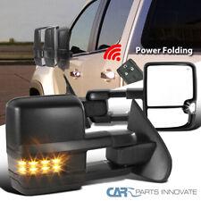 14-18 Silverado Sierra Power Fold Heated Black Side Tow Mirrors+Smoke LED Signal