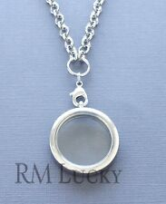 "Glass Plane Floating charm Locket Silver necklace 30mm. Rolo chain 20"" O Ring"
