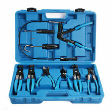 Pro 9PC Hose Clamp Clip Plier Set Swivel Jaw Flat Angled Band Automotive Tools