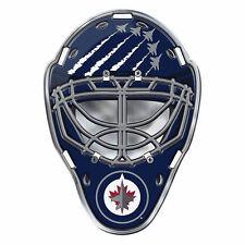 "NHL Officially Licensed Winipeg Jets Mask Premium Aluminum Emblem 3""x4"" New"