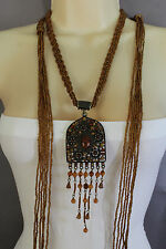 Women Ethnic Fashion Antique Gold Metal Charm Pendant Tie Necklace Brown Beads