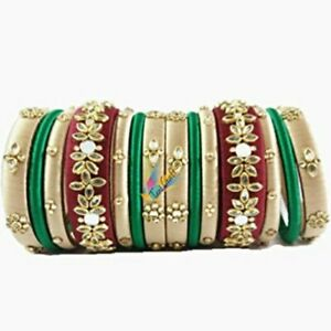 Maroon Color Silk Thread Bangles Jewelry For Bridal  Mirror,Kundan Work