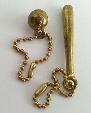 Baseball Bat & Ball Key Chains Brass Color Metal Charms Vintage Keychain