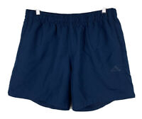 Adidas Mens Running Shorts Size Large Navy Blue With Pockets Elastic Waist