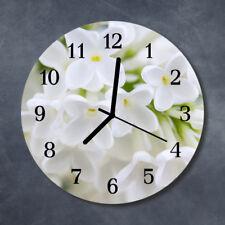 Glass Wall Clock Kitchen Clocks 30 cm round silent Flowers White