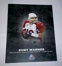KURT WARNER pamphlet NFL HALL of FAME Finalist 2017 !  Tough to Find !
