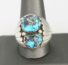 Vintage Sterling Silver Turquoise Cabochon ring W/ Pyrite 20.8 Grams Size 11.5