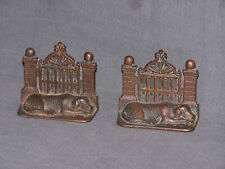 Antique Sleeping Dog In Front of Gate Brick Pillars Cast Iron Bookends Retriever