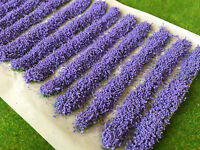 Lavender Flower Strips 9cm - Static Grass Tufts Model Scenery Railway Fields