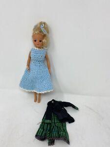 Vintage Sindy Doll Blonde 2 Gen Curls up in bun S Green Skirt Jacket