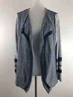 Dressbarn Womens Open Front Cardigan Blue Gray Marled Stripe Casual Work 1X