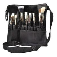 Black 22 Pockets Cosmetic Makeup Brush Apron with Artist Belt Strap Holder Bag