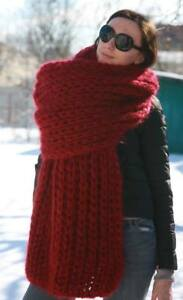 5 strands 1kg Premium Mohair EXTRA LONG SCARF hand knit Red  Men Women