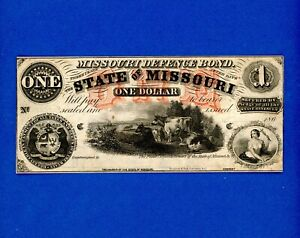 1860's $1 State of Missouri Missouri Defence Bond RARE CIVIL WAR HIGH GRADE NOTE