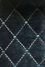 Quilted Velvet Furniture Upholstery Fabric Navy Blue Matelasse IL10