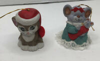 Lot Of 2 Vintage Jasco Taiwan Bell Christmas Ornaments Cat & Mouse Rare holiday
