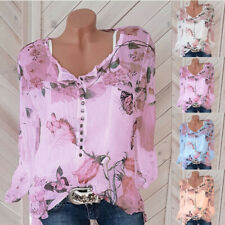 Womens V-Neck Long Sleeve Floral Slim T Shirt Top Casual Button Loose Blouse Tee