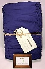 POTTERY BARN FULL / QUEEN RUCHED DUVET COVER NO SHAMS MIDNIGHT PURPLE NEW - NWT