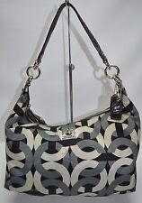 Coach Madison Hailey Op Art Signature Satin Hobo Gray Black 14291