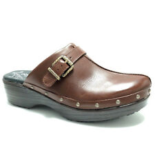 Abeo Womens Clogs Mule Open Back Nursing Career Brown Leather Fay Neutral Sz 8.5