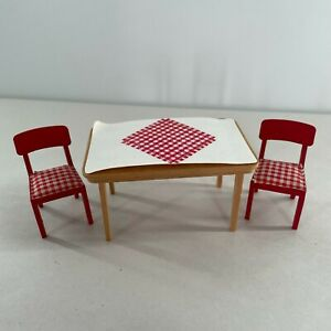 Lundby Red Checker Kitchen Table Chairs Vintage Dollhouse Furniture Accessories