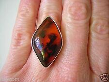 Antigua 900 plata rombo anillo con coñac Bernstein 17,2 mm 6,5 g Amber