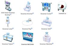 Webkinz online game virtual items winter, holiday SNOWMAN MYSTERY THEME set $50