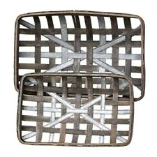 Set of 2 Gray Wash Rectangle Tobacco Baskets with Metal Strips