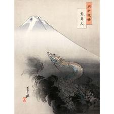 Gekko Dragon Rising To Heavens Japanese Painting XL Wall Art Canvas Print