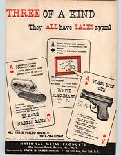 1950 PAPER AD National Metal Pro Flash Lite Gun Flashlight Hi Score Marble Game