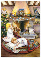 Little Girl and Boy Fireplace Christmas Treeby Puppy Lisi Martin NEW postcard