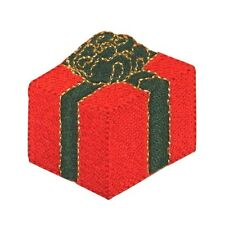 ID 8077 Holiday Present Wrapped Gift Box Embroidered Iron On Applique Patch