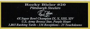 Rocky Bleier Pittsburgh Steelers Autograph Nameplate Football Helmet Jersey